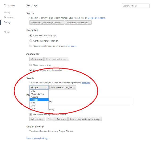 opzione Chrome Ricerca