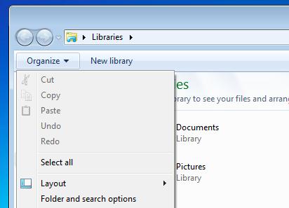 Opzioni di ricerca delle cartelle Windows Vista o 7