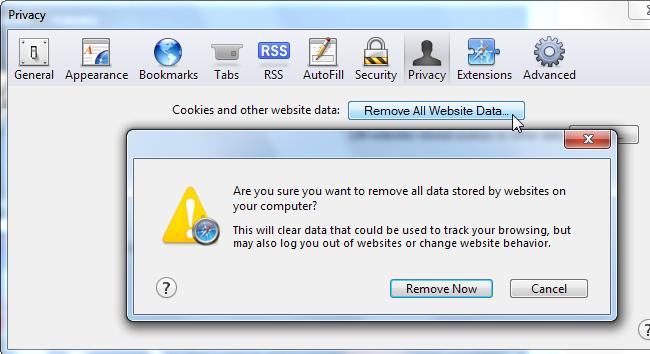 Safary privacy rimuovere tutti i dati sito web